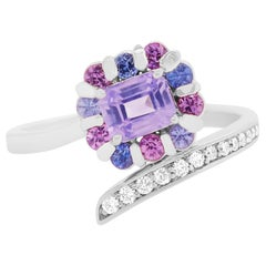 Purple Sapphire, Multi-Color Sapphire and Diamond Asymmetrical Flower Ring