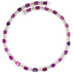 50.30 Carats No Heat Purple-Pink Sapphire Diamond Necklace