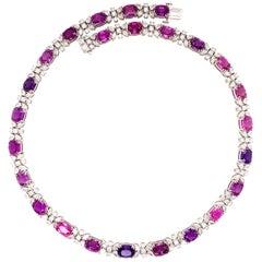 50.30 Carats Unheated Purple-Pink Sapphire Diamond Necklace