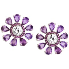 Purple Sapphire, Pink Sapphire, White Sapphire Earrings in 18 Karat White Gold