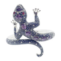 Purple Sapphire, Ruby, Blue Sapphire, Diamond Lizard Bangle in 18k White Gold