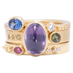 Purple Sapphire Stack Ring Set in 18 Karat Gold