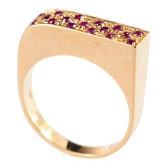 Purple Sapphire 18 Karat Yellow Gold Band Square Handmade Abstract Cocktail Ring