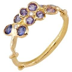 Purple Sapphires 18 Karat Yellow Gold Ring
