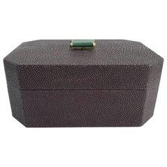 Purple Shagreen Box with Malachite
