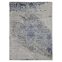 Purple Silk with Textured Wool Erased Mughal Design Hand Knotted Oriental Rug