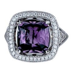 Purple Spinel, 4.77 Carat, White Gold Halo Diamond Natural Ring