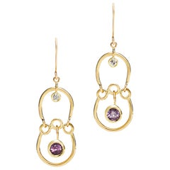 Purple Spinel and Diamond Drop Earrings