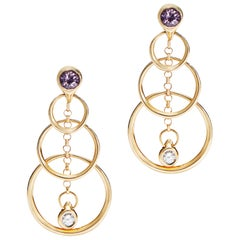 Purple Spinel and Gold Drop Earrings