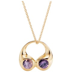 Purple Spinel and Gold Necklace
