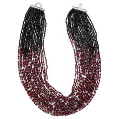 Purple Spinel Black Agate Rock Crystals Multi Strand Handmade Beaded Necklace