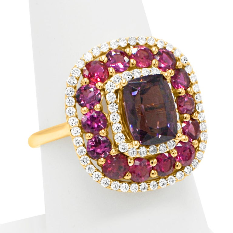 Brilliant - not heated or treated- all very natural. Ruby &  Purple Spinel Cocktail Ring, Center Natural Spinel 2.40 carat. Surrounded with Natural Ruby - Total 2.11 carat 14k Rose Gold  5.0 grams,  Diamonds 0.48 carat F-G-VVS. Finger size 7 all