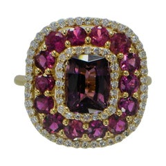 Purple Spinel Ring and Ruby, 14 Karat Rose Gold Cushion Shape Spinel 2.40 Carat