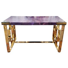 Purple Stained Wood Desk with Acrylic and Brass Legs