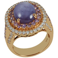 Purple Star Sapphire with Purple Sapphire and Diamond Ring in 18 Karat Rose Gold