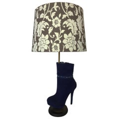 Purple Stiletto High Heel Boot Table Lamp with Floral Lamp Shade