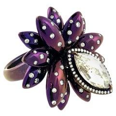 Purple Titanium Marquise Diamond Flower Ring