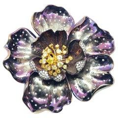 Purple Titanium White and Yellow Diamond Flower Brooch, 2010
