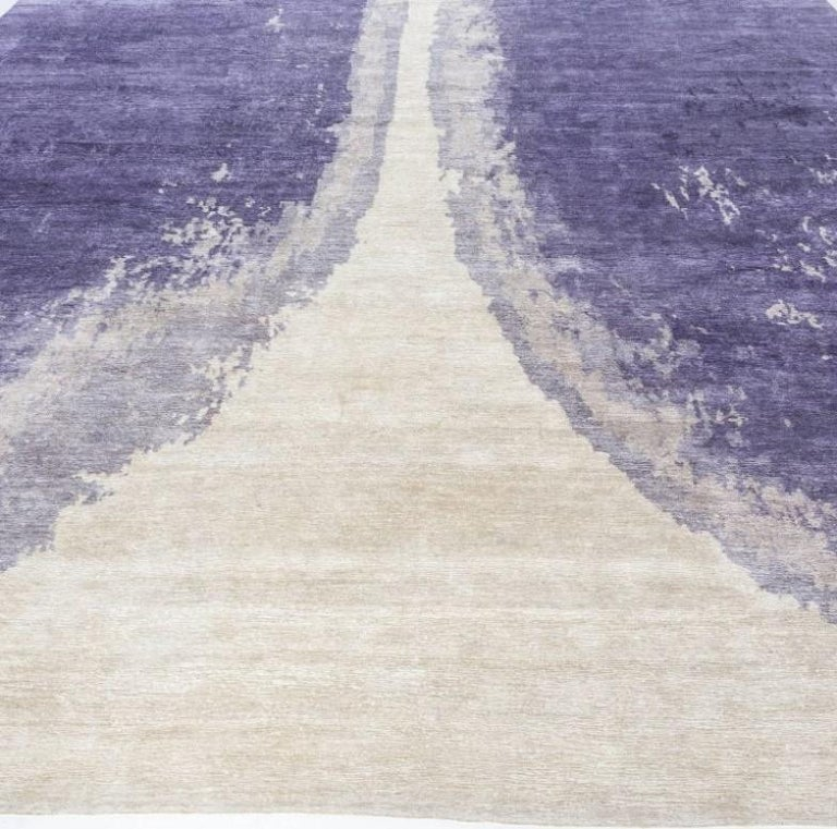 Hand-Knotted 21st Century Art Deco Purple Trace De Pas Silk & Wool Rug For Sale