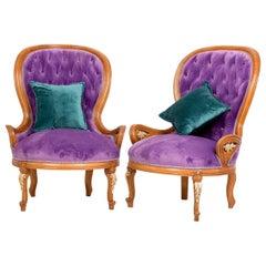 Purple Tufted Bergère Armchair '2-Chair Set', 20th Century