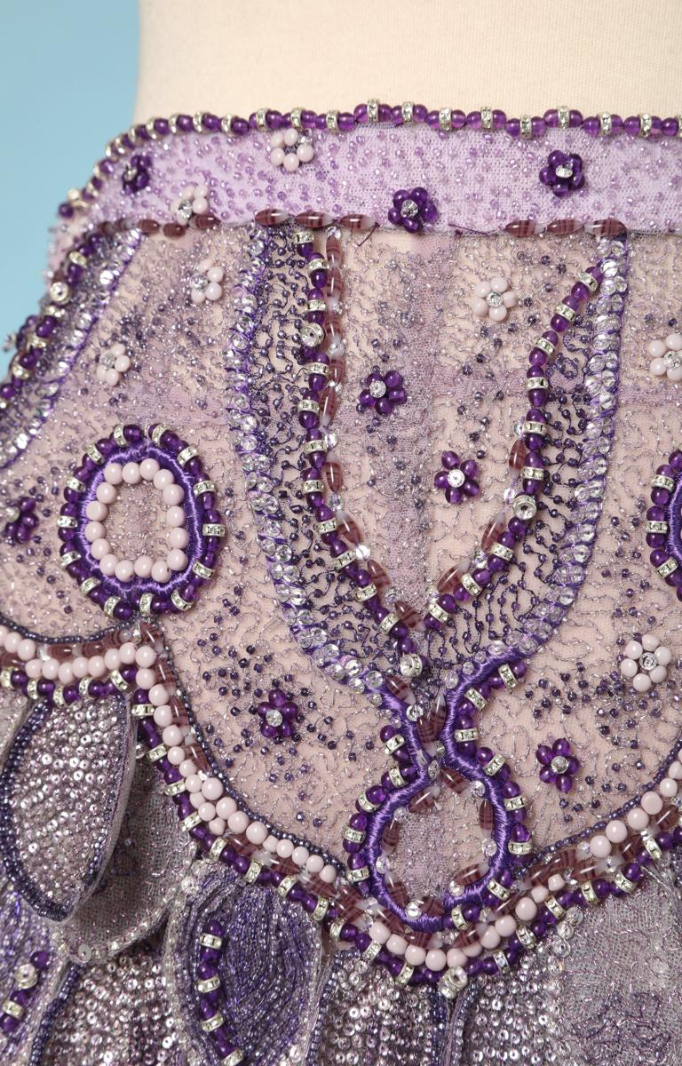 Vintage purple tulle pants fully embroided with beads, sequins and rhinestoned, Atelier Versace, with scales in relief of the hips at the top of the thighs; Size: 34 French