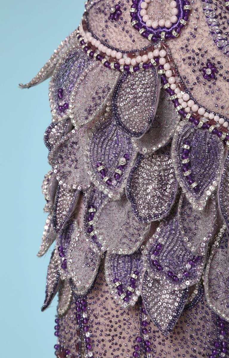 Gray Purple tulle pants entirely beaded and rhinestoned Atelier Versace For Sale
