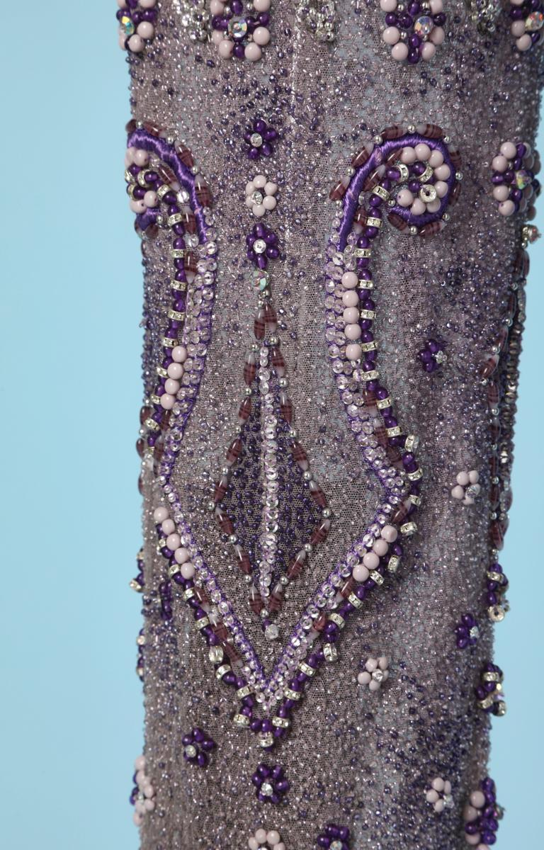 Purple tulle pants entirely beaded and rhinestoned Atelier Versace In Excellent Condition For Sale In Saint-Ouen-Sur-Seine, FR