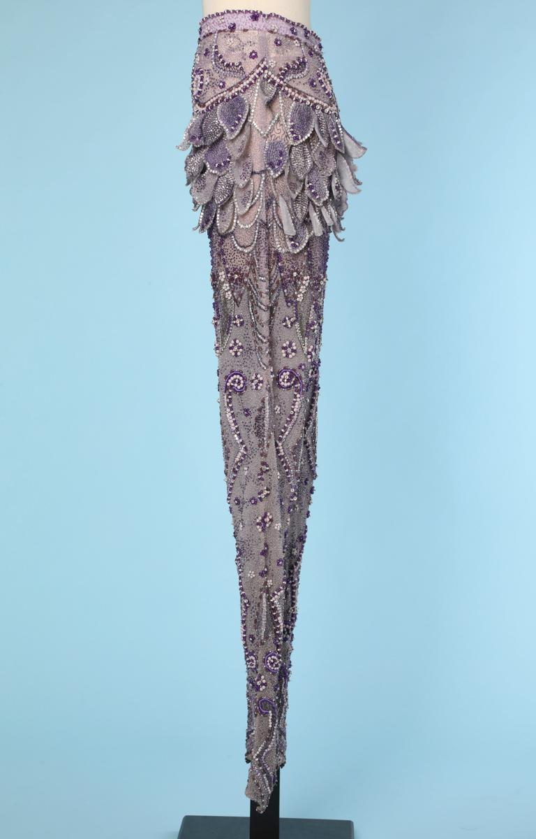 Women's Purple tulle pants entirely beaded and rhinestoned Atelier Versace For Sale