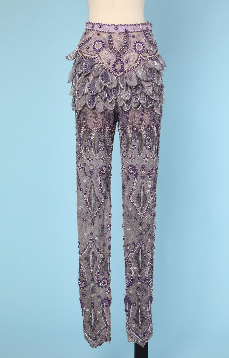 Purple tulle pants entirely beaded and rhinestoned Atelier Versace For Sale 1