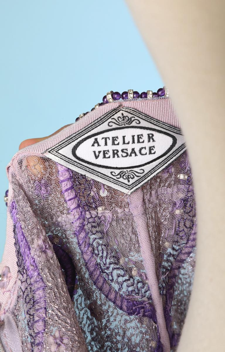 Purple tulle pants entirely beaded and rhinestoned Atelier Versace For Sale 2