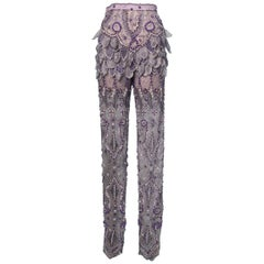 Purple tulle pants entirely beaded and rhinestoned Atelier Versace