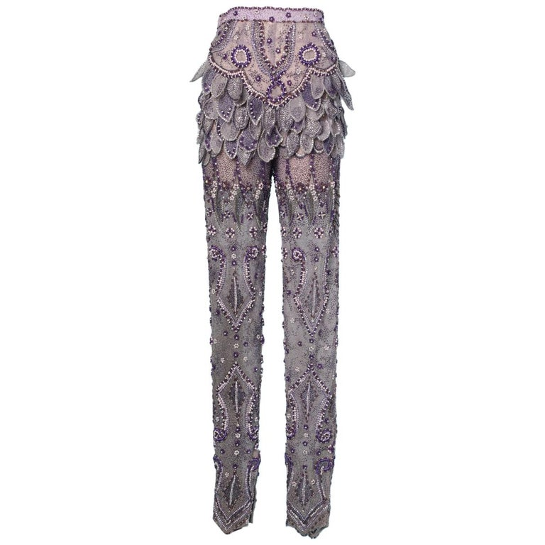 Purple tulle pants entirely beaded and rhinestoned Atelier Versace For Sale