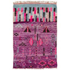 Purple Vintage Azilal Moroccan Handmade Wool Rug