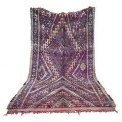 Purple Vintage Moroccan Wool Talsint Rug, circa 1975