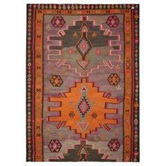 Purple Wool Kilim Rug Handmade Carpet Area Rug Vintage Tribal