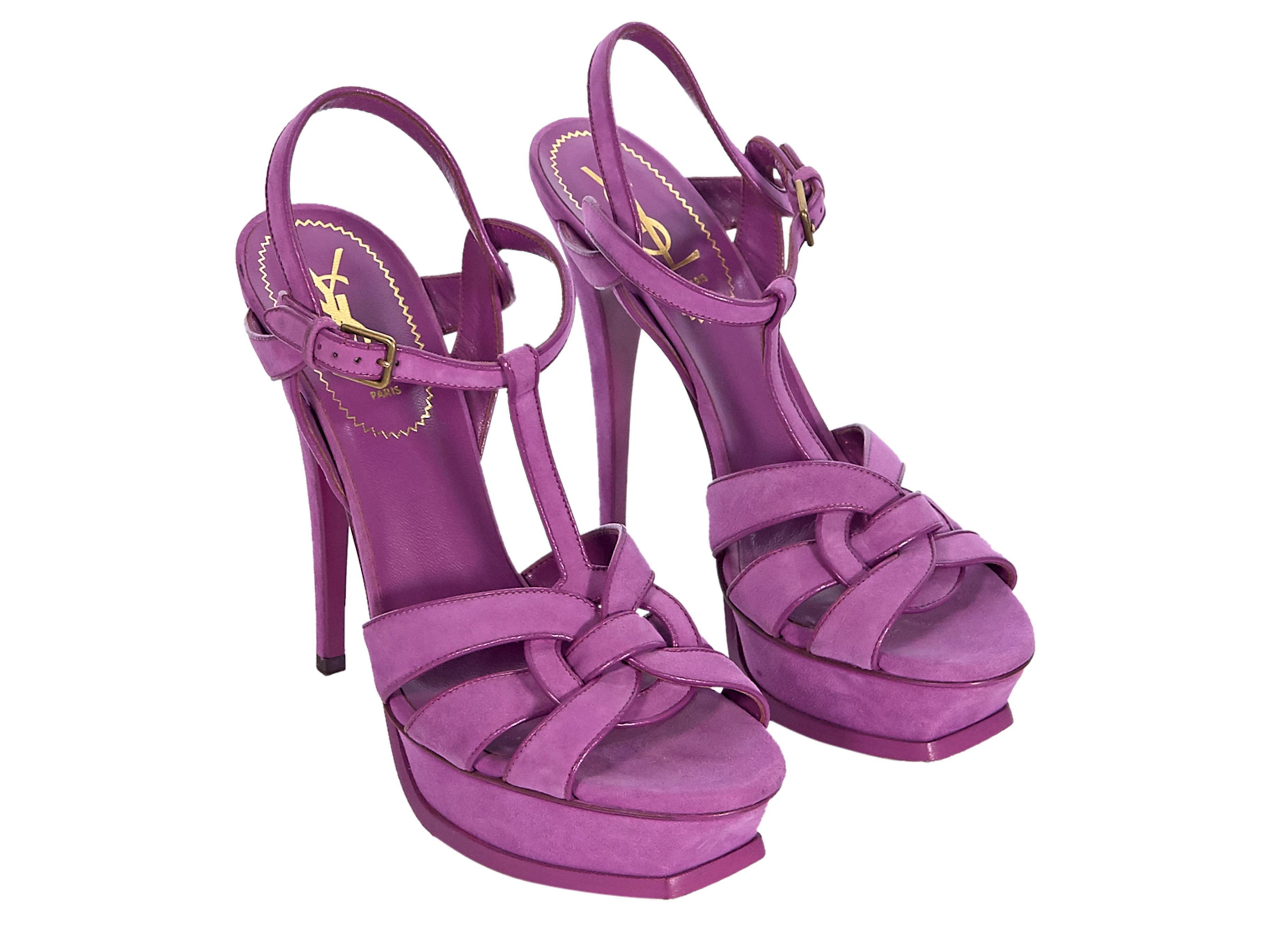 9f2c77b9 Purple Yves Saint Laurent Suede Tribute Platform Sandals