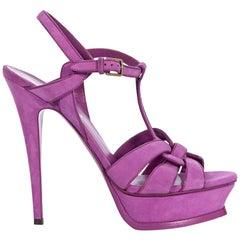 Yves Saint Laurent Purple Suede Tribute Platform Sandals