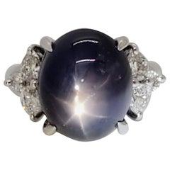 Purplish Blue Star Sapphire Oval Cabochon and White Diamond Cocktail Ring