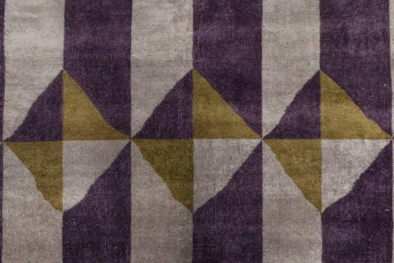 Vintage French Art Deco Purple Gold Handwoven Wool Rug Size: 10'4