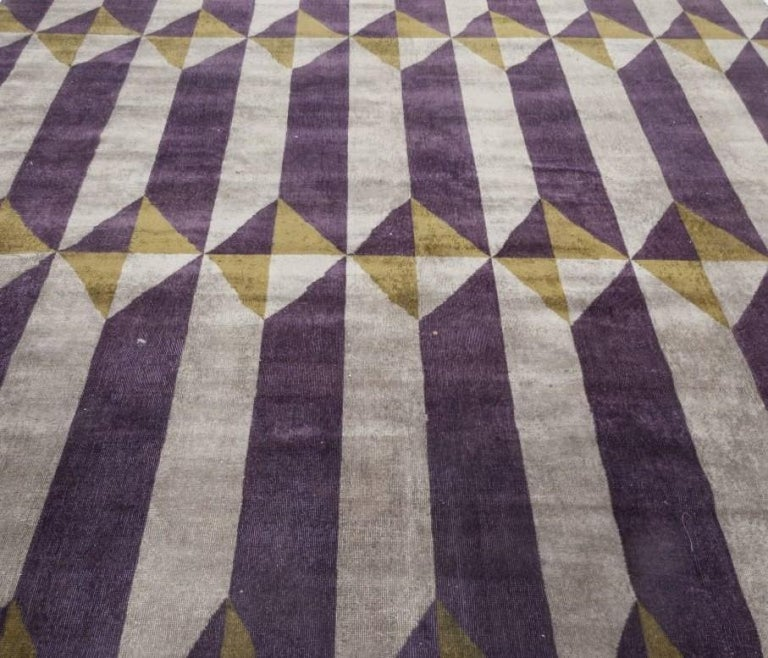 Vintage French Art Deco Purple Gold Handwoven Wool Rug In Good Condition For Sale In New York, NY