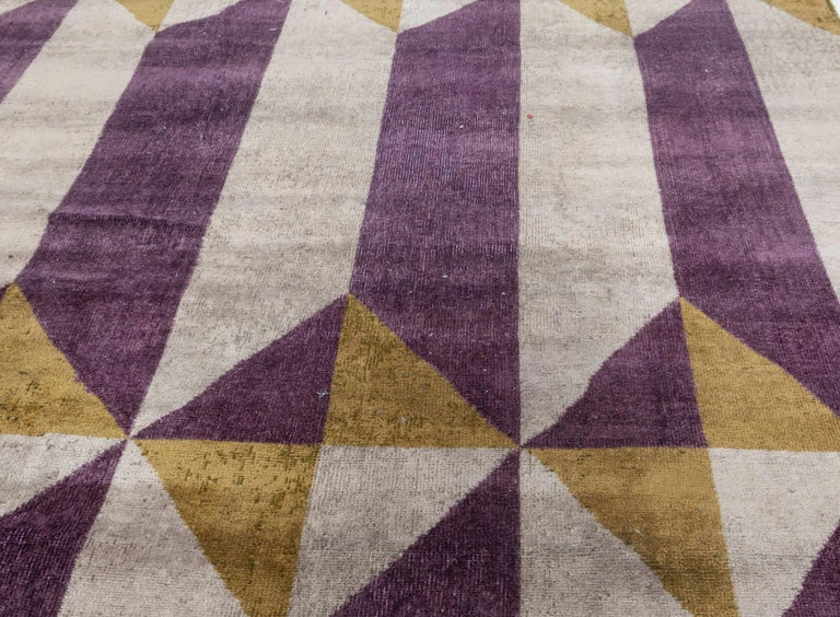 20th Century Vintage French Art Deco Purple Gold Handwoven Wool Rug For Sale