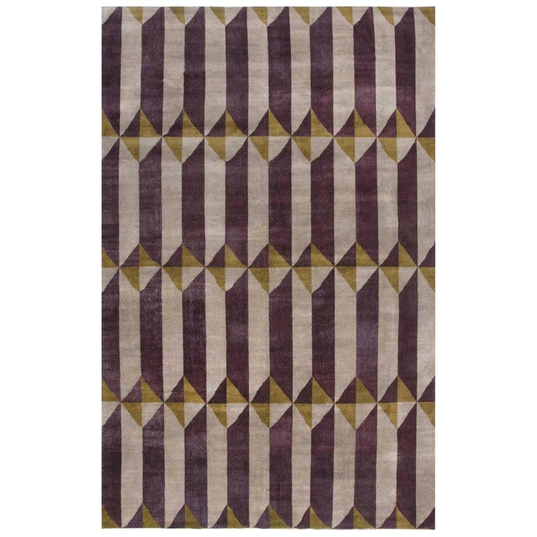 Vintage French Art Deco Purple Gold Handwoven Wool Rug For Sale