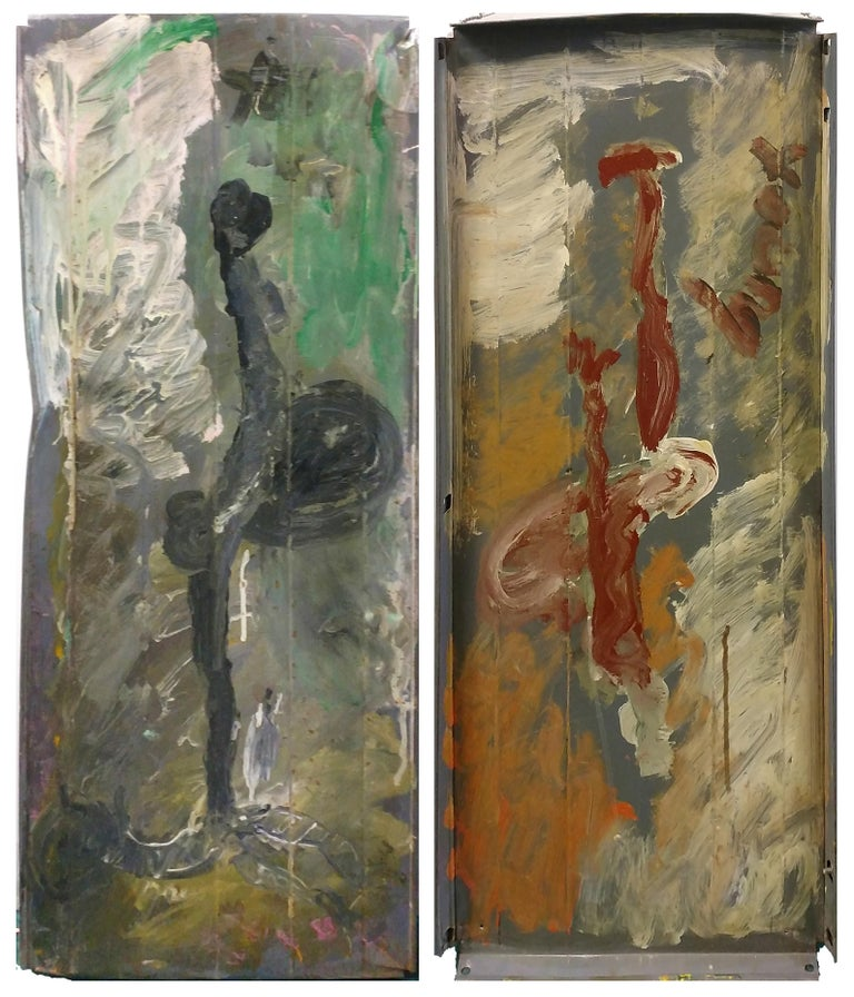 SIDE BY SIDE DIPTYCH - Mixed Media Art by Purvis Young