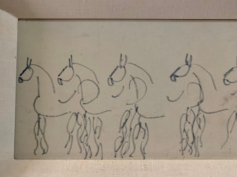 Purvis Young Original Painting of Blue Horses, Signed In Good Condition For Sale In East Hampton, NY