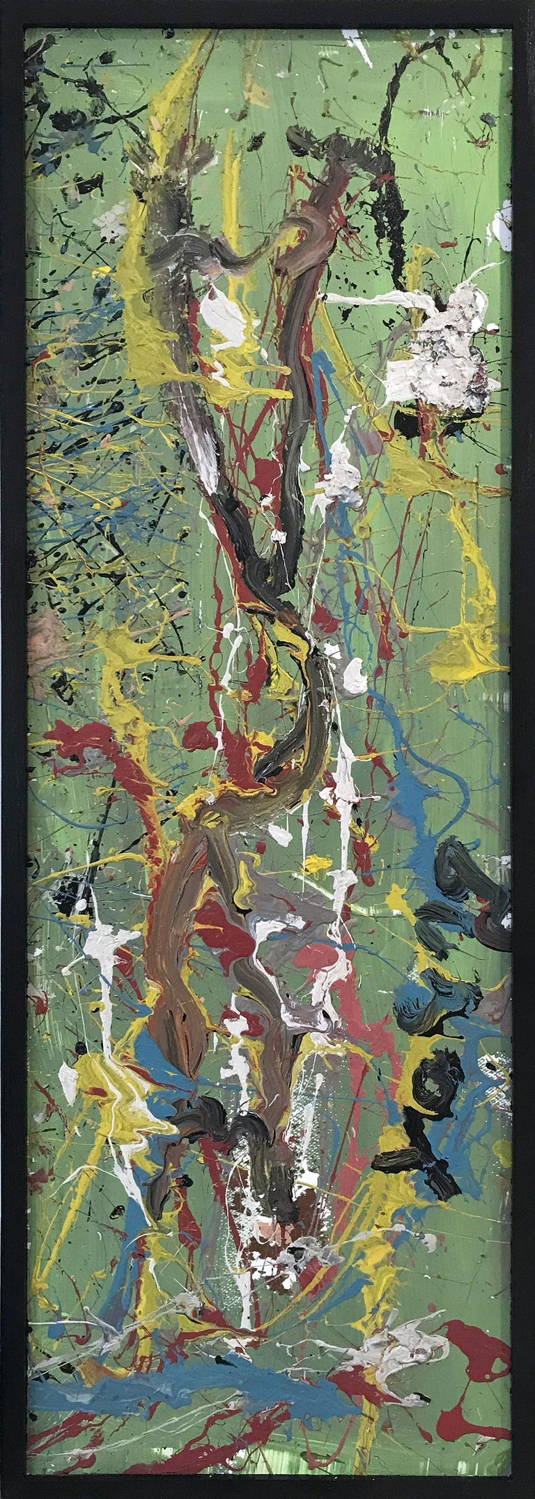 """Purvis Young Landscape Painting - """"Abstract"""" Jackson Pollock Style Mid Century Modern Oil Painting on Wood Framed"""
