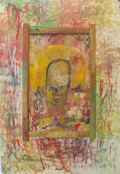 Purvis Young, Angel Head, Painting on Masonite