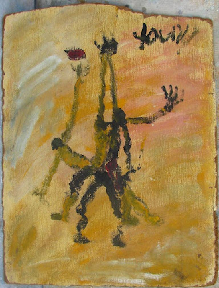Purvis Young, Basketball Players, Painting on Paneling - Brown Figurative Painting by Purvis Young