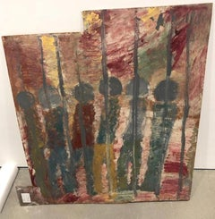 Purvis Young, Behind Bars, Painting on Plywood circa 1990