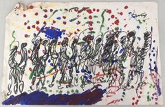 Purvis Young, Figures with Dots, Acrylic on Paper circa 1990