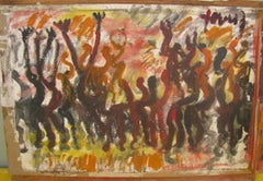 Purvis Young, Freedom, Painting on Paper on Wood circa 1990